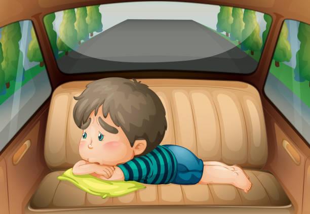 illustrations, cliparts, dessins animés et icônes de sad boy in the back of the car - child car sleep