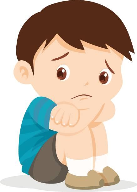 ilustrações de stock, clip art, desenhos animados e ícones de sad boy sitting alone - unfortunate