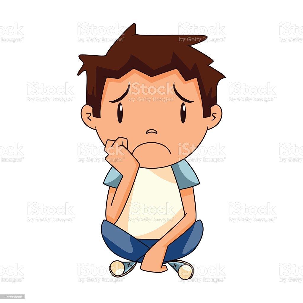 Sad boy vector art illustration