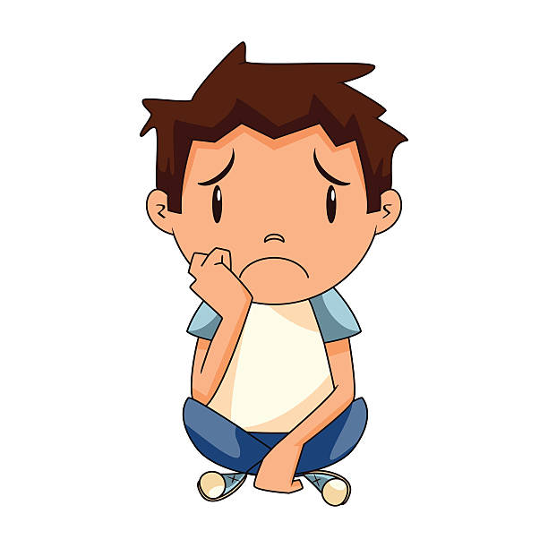 sad boy - child abuse stock illustrations