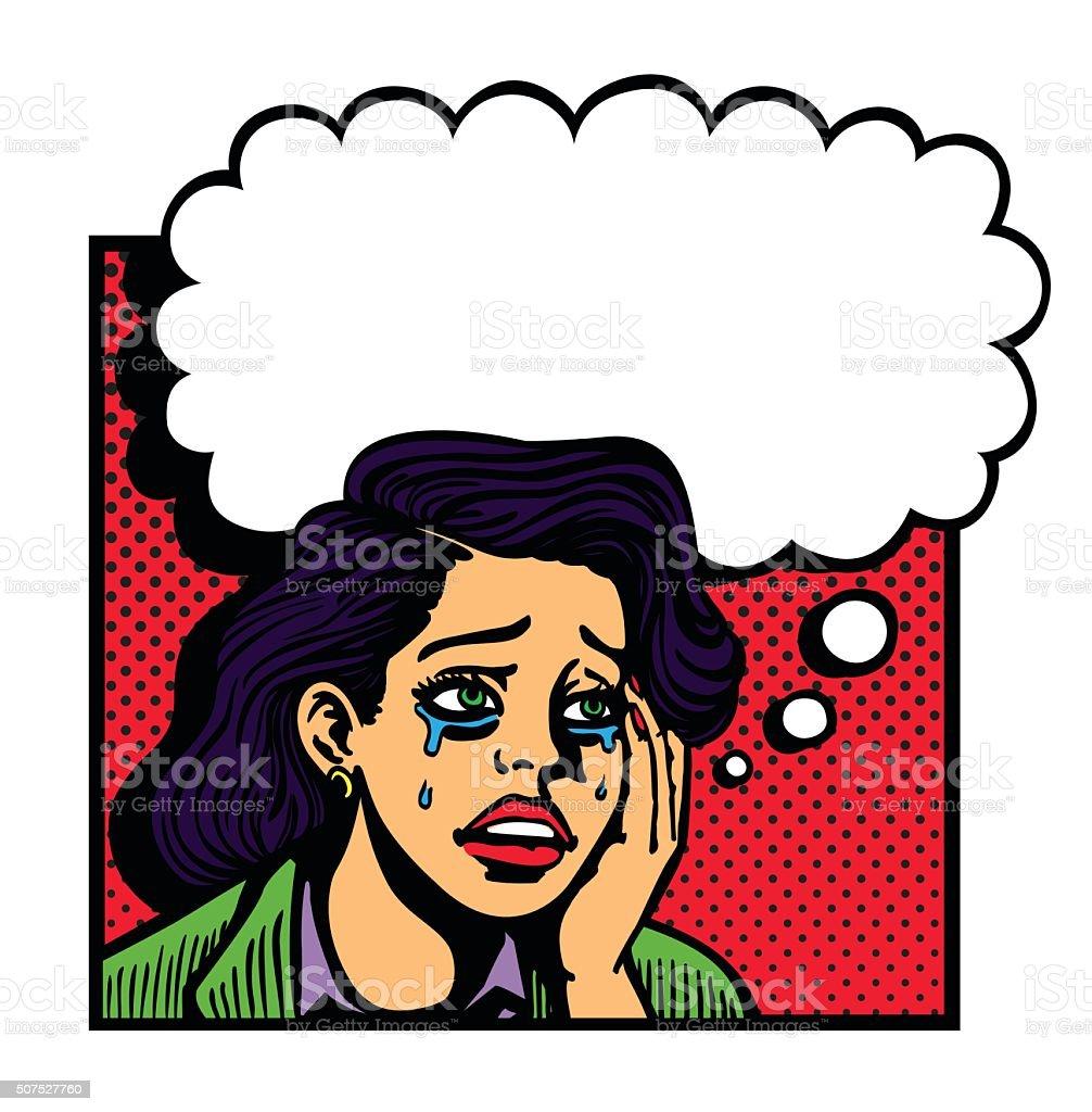 Sad broken-hearted girl crying face pop art vector illustration vector art illustration