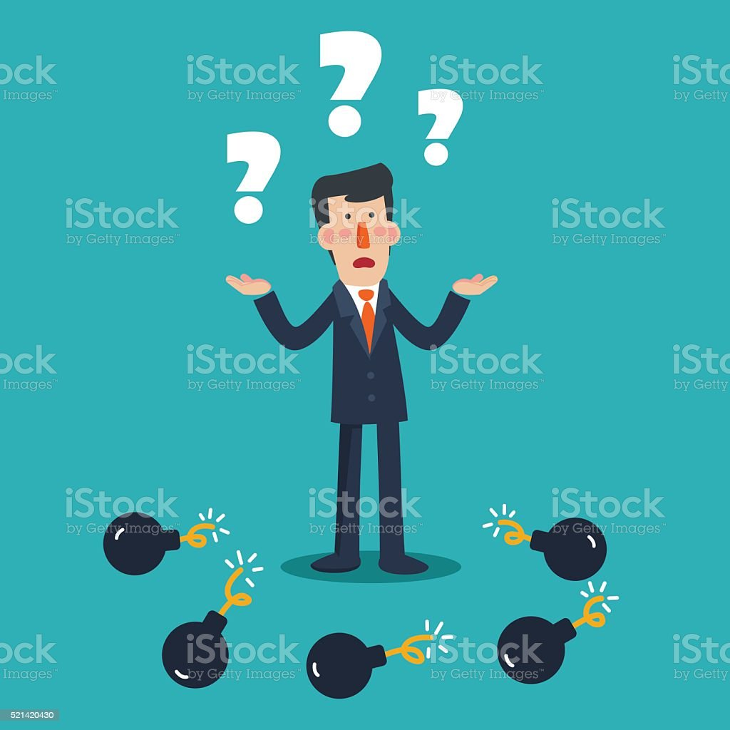 Sad business man with question mark standings between bombs vector art illustration