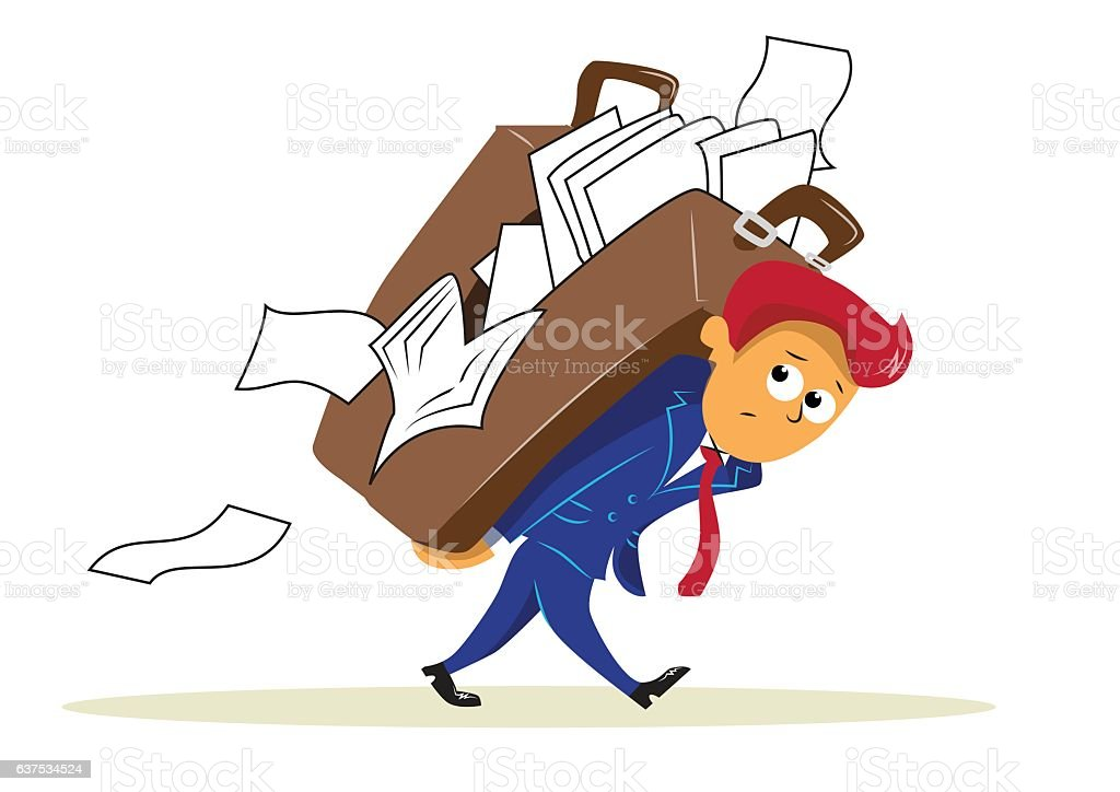 sad businessman carrying big heavy briefcase on his back vector art illustration