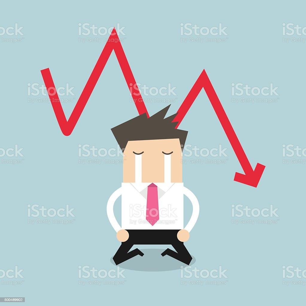 Sad businessman crying with falling down red arrow graph vector art illustration