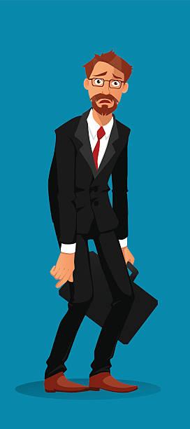 ilustrações de stock, clip art, desenhos animados e ícones de triste empresário segurando uma pasta executiva - deceção