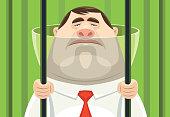 vector illustration of sad businessman holding prison bars