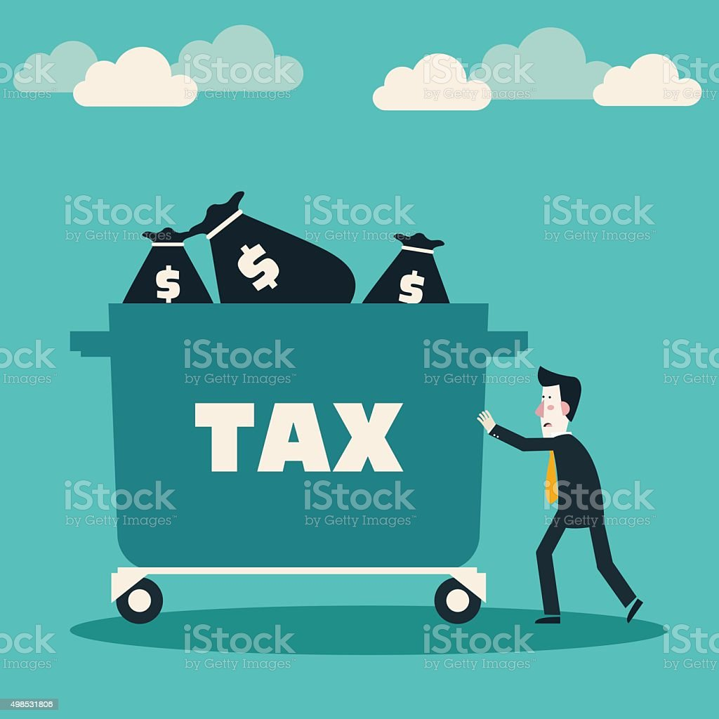 Sad businessman pushing hand truck with taxes. Tax time concept vector art illustration