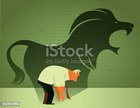 vector illustration of sad businessman with roaring lion shadow…