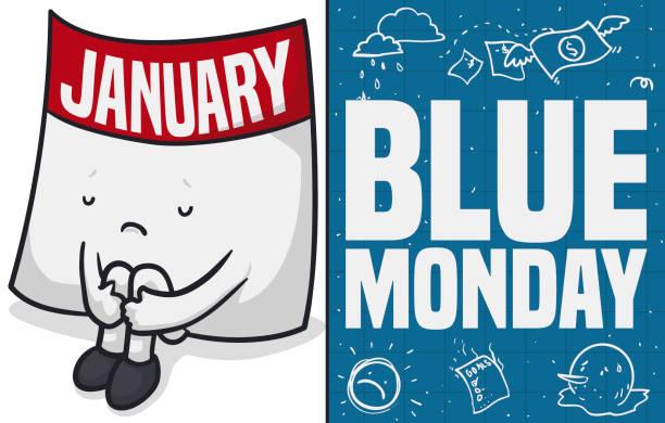 illustrazioni stock, clip art, cartoni animati e icone di tendenza di sad calendar remembering the broken goals in blue monday - blue monday