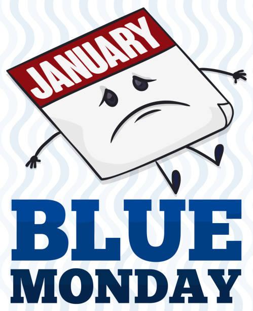 stockillustraties, clipart, cartoons en iconen met triest kalender herinneren van het ongeluk blue monday datum - blue monday