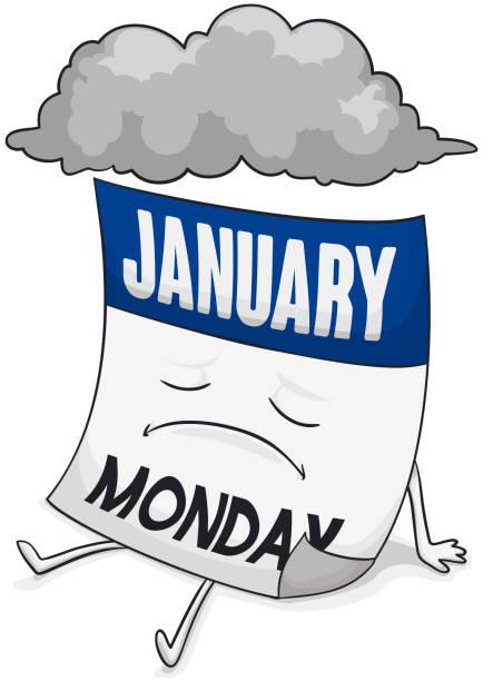 stockillustraties, clipart, cartoons en iconen met triest kalender met stormachtige cloud tijdens blauwe maandag - blue monday