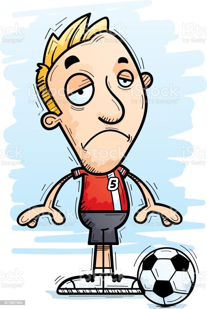 Traurig Cartoon Fussballspieler Undtrainer Stock Vektor Art