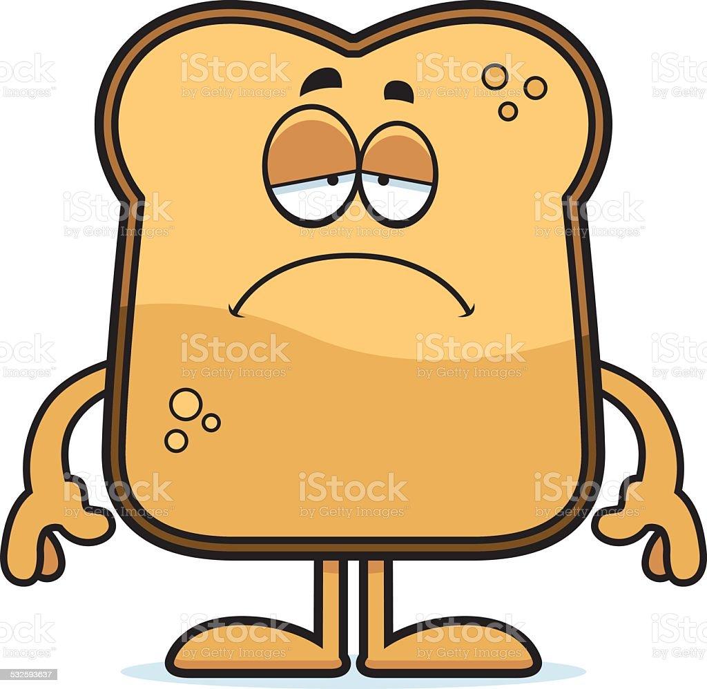 Sad Cartoon Toast vector art illustration