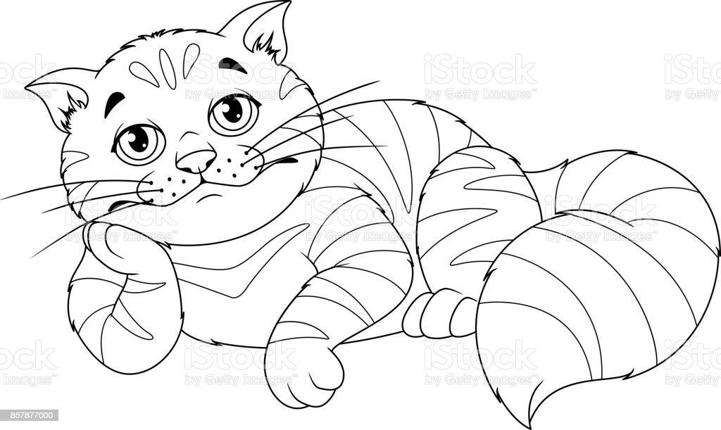 üzgün Kedi Boyama Sayfası Stok Vektör Sanatı Animasyon Karakter