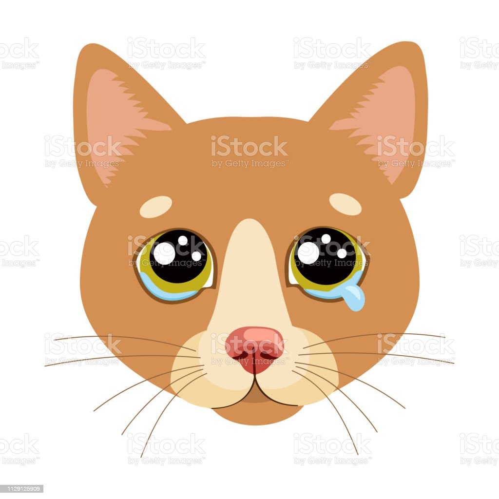 Sad Cat Face Head Vector Icon. Illustration Of Cute Sad Animal. Drear...