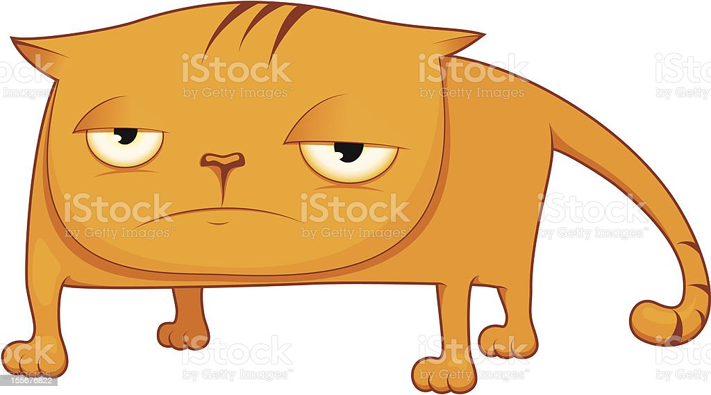 sad cat vector art illustration