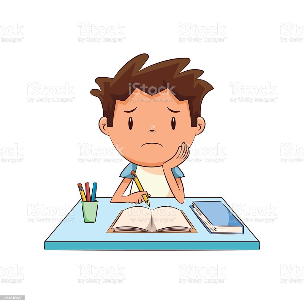 Sad child, homework vector art illustration