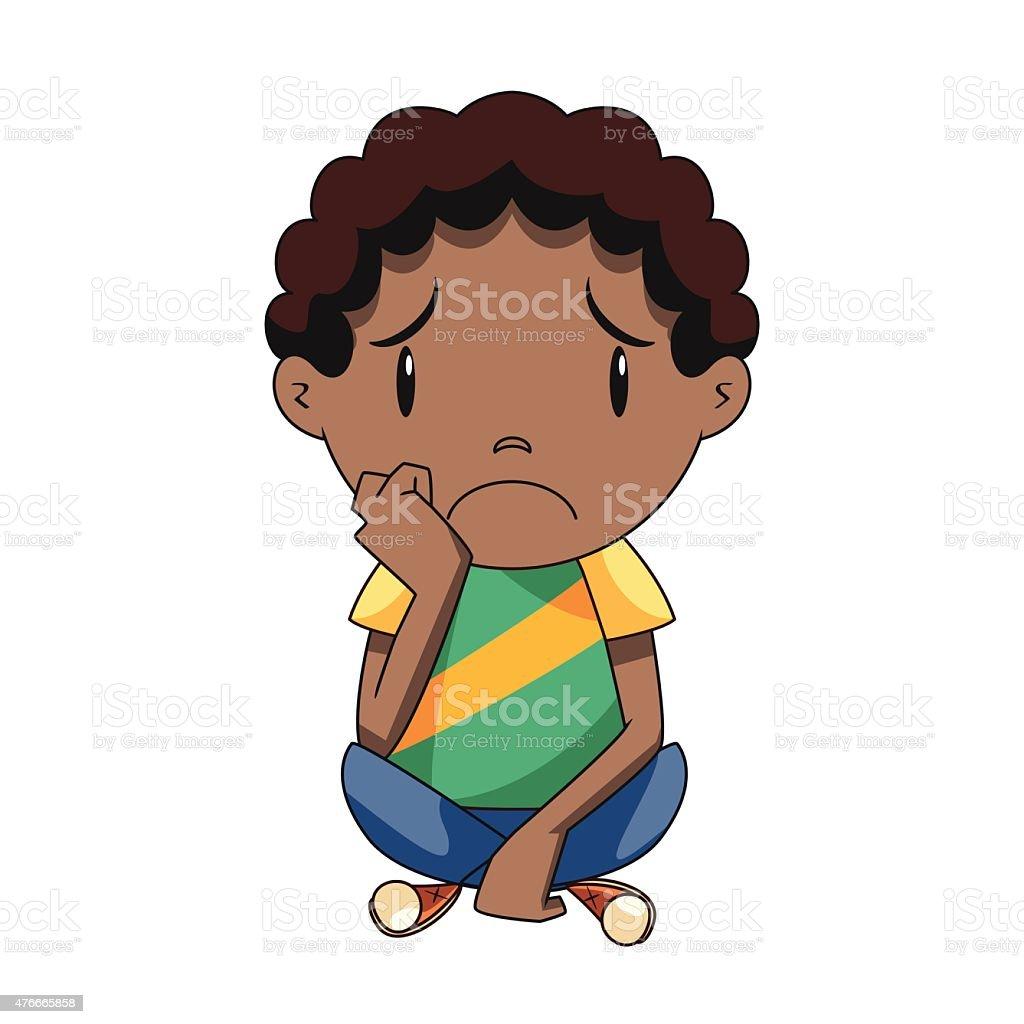 Sad child vector art illustration