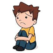 Sad child, vector illustration