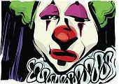 sad clown drawing illustration