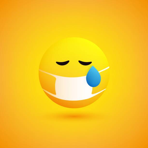 stockillustraties, clipart, cartoons en iconen met droevige, betrokken schreeuwende emoticon met teardrop en medisch masker - tears corona