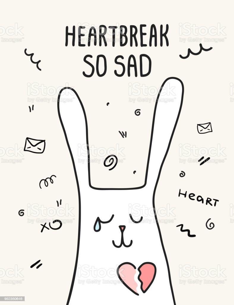 Ilustración de Triste Conejo Llorando Con El Corazón Roto ...