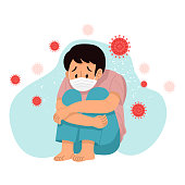 istock Sad depressed young man wearing protective mask sitting alone with virus around him, Vector Illustration 1217934004