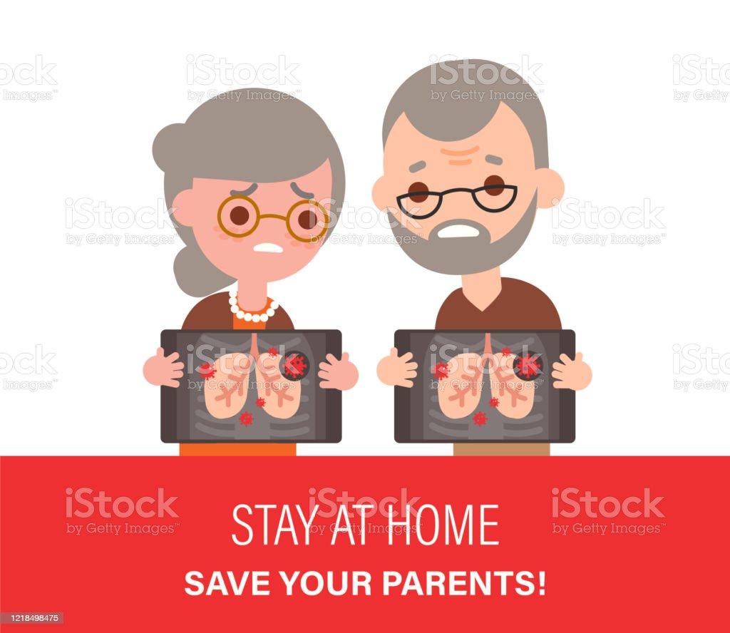 Tyvärr äldre par har positiva Covid-2019 lungröntgentestresultat. vektor illustration i platt design stil tecknad. - Royaltyfri Anatomi vektorgrafik