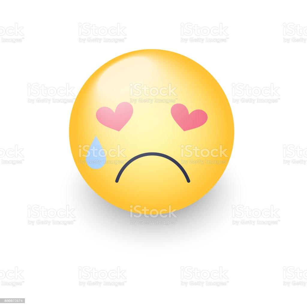 Sad Smiley Amoureux Aux Yeux En Forme De Coeurs Pleurer Les Emoji