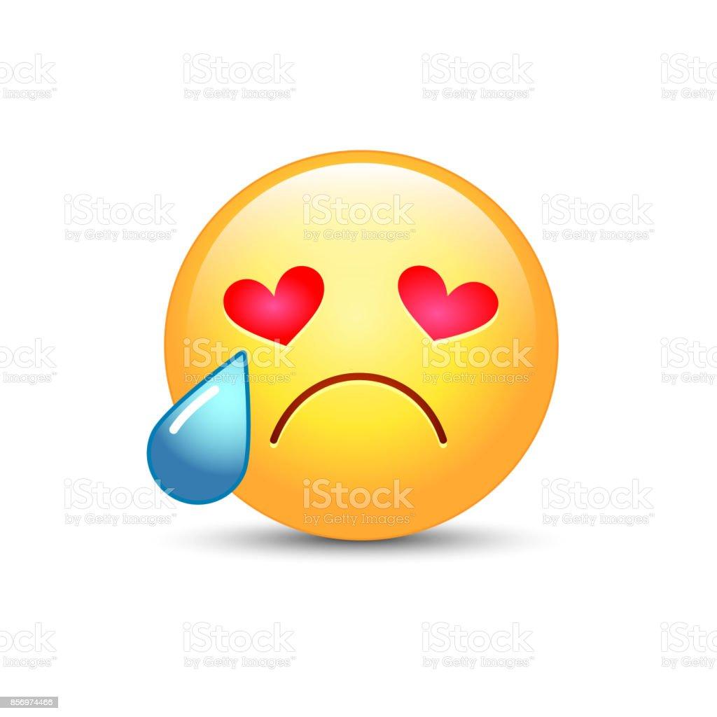 ハートの形の目に悲しい夢中笑顔泣き顔絵文字彼の目から涙を絵文字で