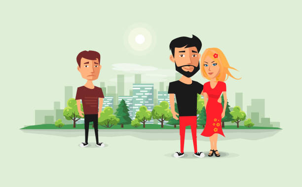 Sad Ex Boyfriend Looking on Couple in Love Sad jealous ex boyfriend looking at romantic couple. Past relationship concept. Ex-lover in love triangle. Beautiful couple with ex and urban city skyline background. Flat vector cartoon illustration. former stock illustrations
