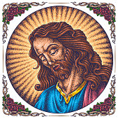 Sad face of Jesus Christ with closed eyes hand-drawn vector.