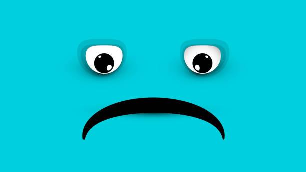 stockillustraties, clipart, cartoons en iconen met droevig gezicht op blauwe achtergrond - blue monday