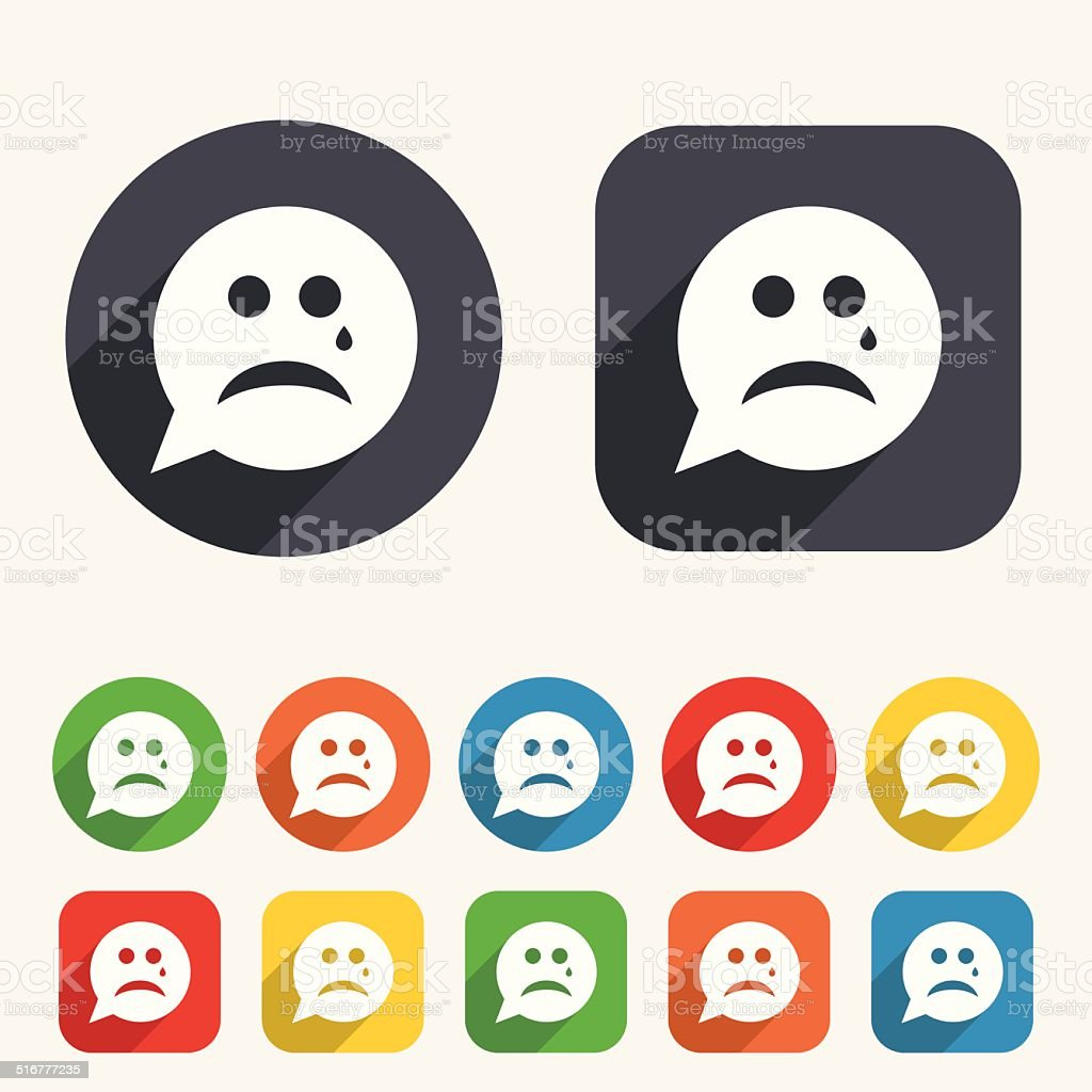 Sad Face With Tear Sign Icon Crying Symbol Stock Vector Art More
