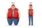 Sad fat man. Obese character. Fatboy. Cartoon vector illustration.