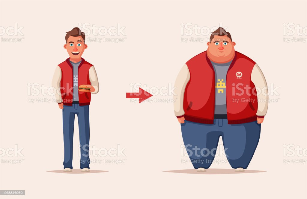 Sad fat man. Obese character. Fatboy. Cartoon vector illustration. vector art illustration