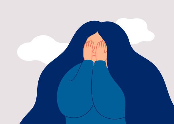 stockillustraties, clipart, cartoons en iconen met de droevige vrouwelijke adolescent behandelt haar gezicht met palmen. - psychische aandoening