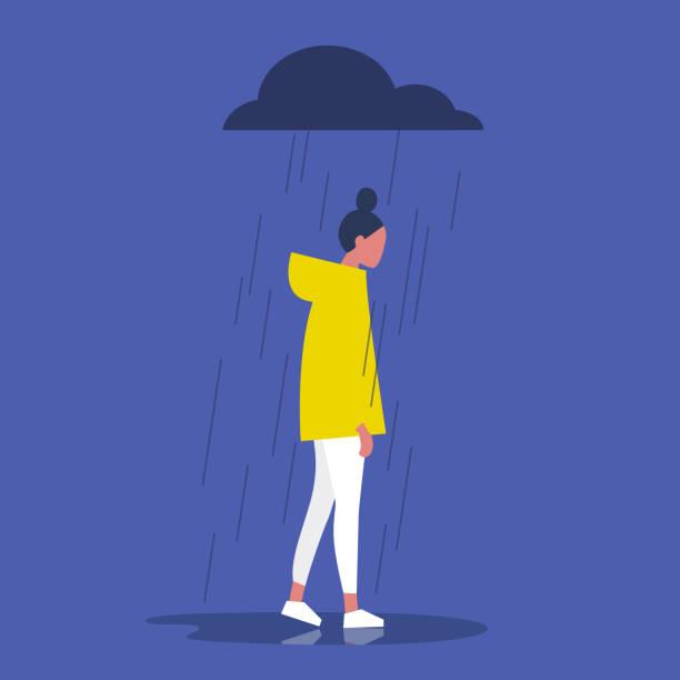 stockillustraties, clipart, cartoons en iconen met triest vrouwelijke personage staande onder de regen. bewolkt weer. emoties. eenzaamheid concept. plat bewerkbare vectorillustratie, illustraties - solitair
