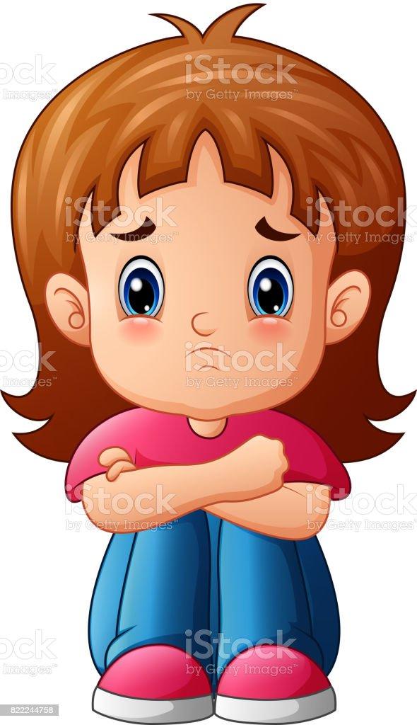Vetores De Desenho De Menina Triste Sentada Sozinha E Mais Imagens