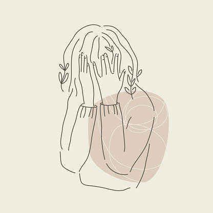 Sad girl hiding face in hands. Modern line art. Mental wealth month concept. Anxiety and stress in isolation. Vector graphic.