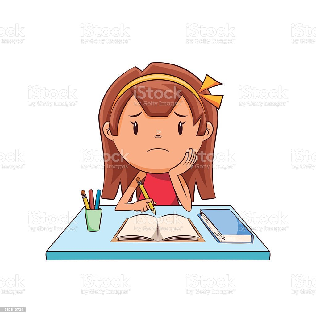 Sad girl, homework vector art illustration