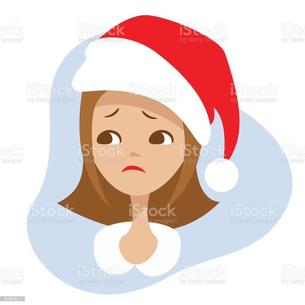 Sad girl in the red hat of Santa Claus.