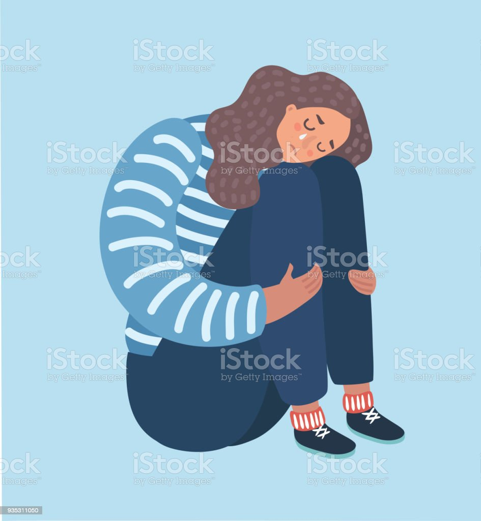 Sad girl sitting and unhappily hugging her knees. vector art illustration