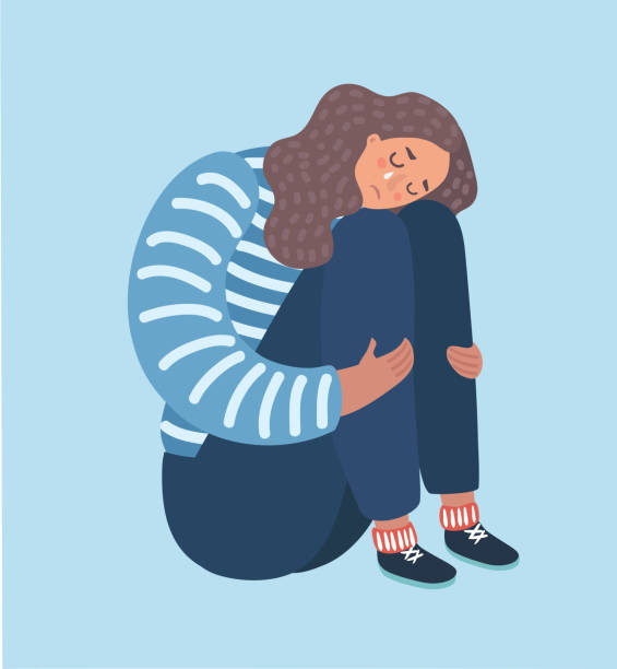 Sad girl sitting and unhappily hugging her knees. Vector catoon illustration of sad girl sitting and unhappily hugging her knees and cry. Woman in depression. anxiety stock illustrations