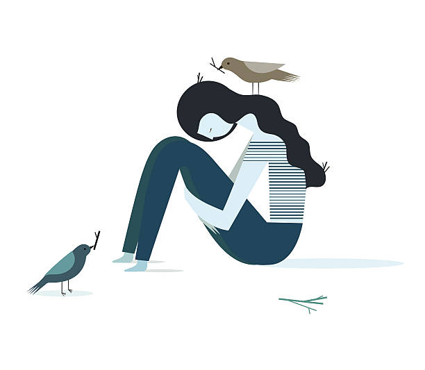 Sad girl Vector illustration of a depression girl with birds that build their nests grief stock illustrations