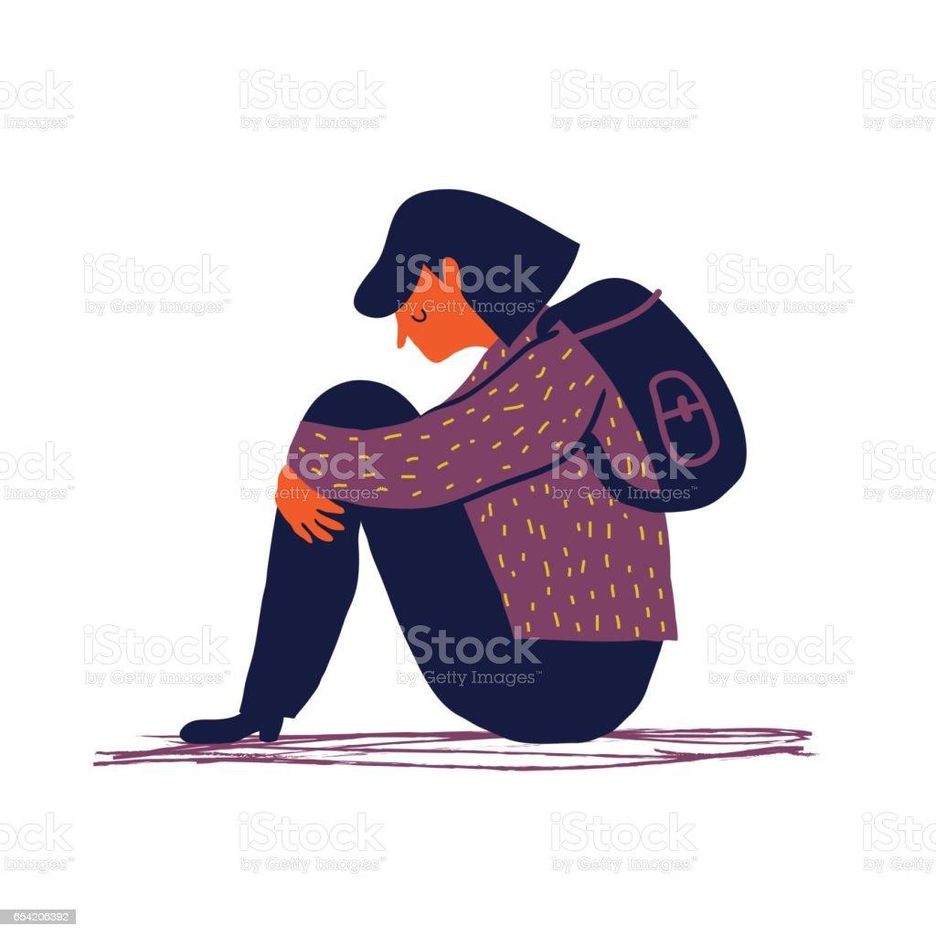 Traurige Mädchen – Vektorgrafik