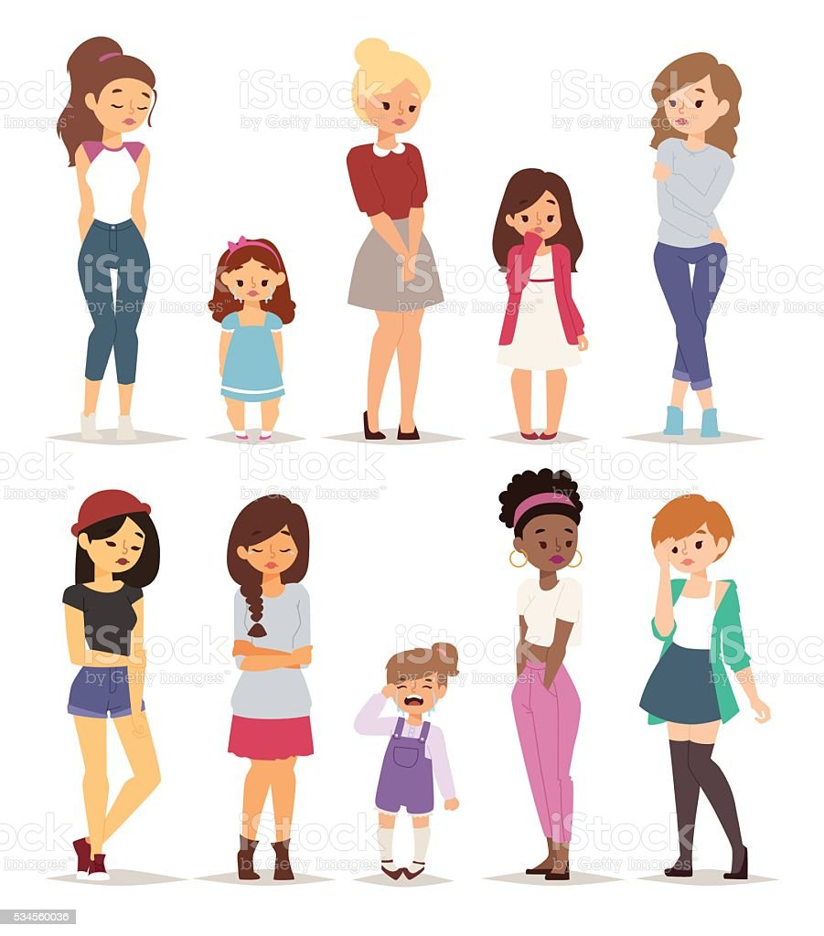 Sad girls vector illustration.