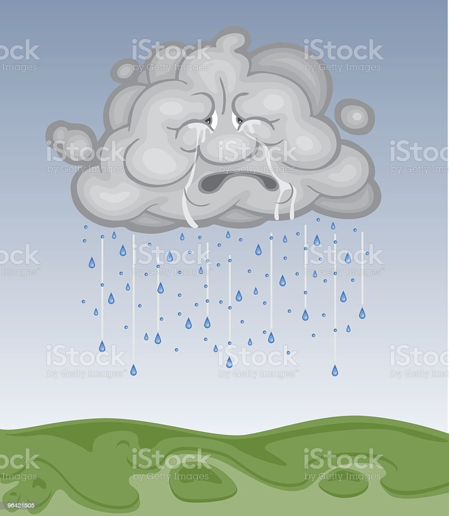 Sad Gray Cloud is Dropping Rain to the Earth royalty-free stock vector art