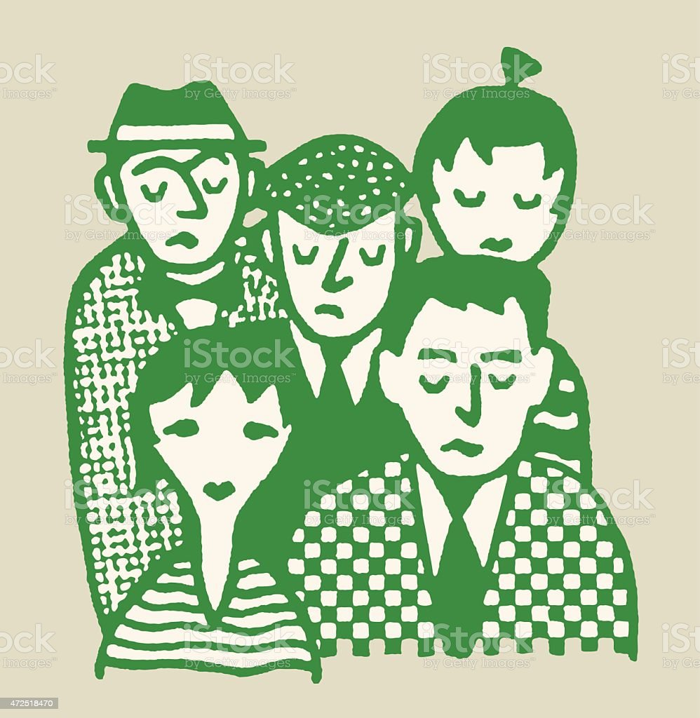 Sad Group of People vector art illustration