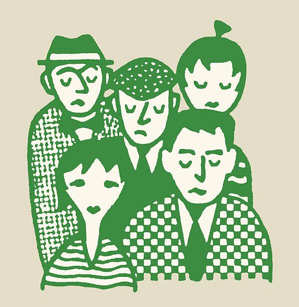 ilustrações, clipart, desenhos animados e ícones de triste grupo de pessoas - reunião de família